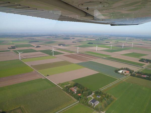 Een lappendeken van velden in de polder