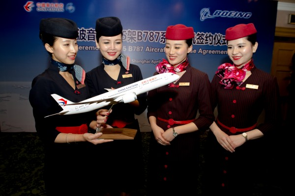 China Eastern flight attendants and 787-9 model